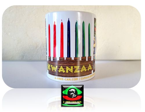"2 MUGS Medium / 2 TASSES Medium: ""KWANZAA"" (by A-FREE-CAN.COM)"