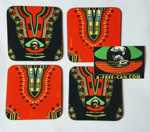 "Sous-Verres (Lot de 4 ) / Coasters (Set of 4): ""DASHIKI Rouge & Noir"" by A-FREE-CAN.COM"