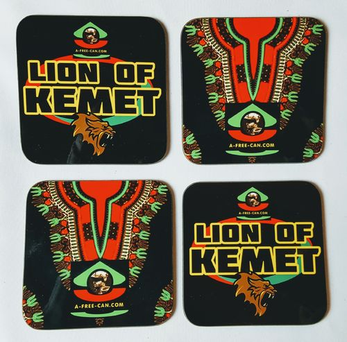 "Sous-Verres (Lot de 4 ) / Coasters (Set of 4): ""LION OF KEMET & BLACK DASHIKI"" by A-FREE-CAN.COM"