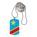"BIJOUX, collier médaillon rectangle: ""DRAPEAU CONGO KINSHASA FLAG, v2"""