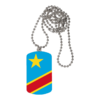 "BIJOUX, collier médaillon rectangle: ""DRAPEAU CONGO RDC"""