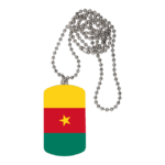 "BIJOUX, collier médaillon rectangle: ""DRAPEAU CAMEROUN"""