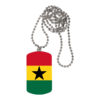 "BIJOUX, collier médaillon rectangle: ""DRAPEAU GHANA"""