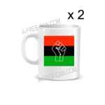 "Lot de 2 Tasses / Set of 2 Mugs: ""DRAPEAU PANAFRICAIN BLACK POWER"""