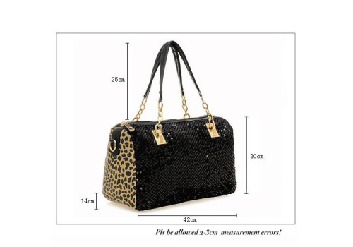 "Sac à main / Handbag:    ""LEOPARD 2 FACE BLACK BRILLIANT BAG"""