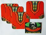 "Sous-Verres (Lot de 4 ) / Coasters (Set of 4): ""DASHIKI Rouge 1""  by A-FREE-CAN.COM"