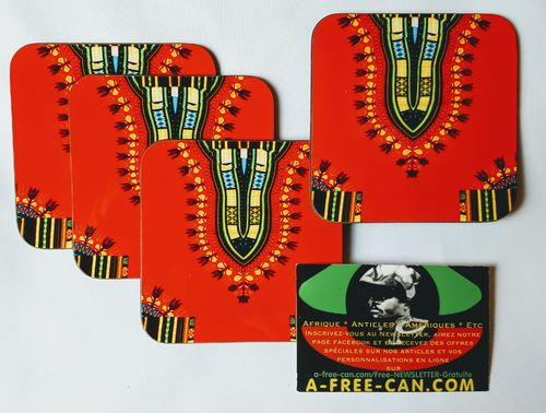 "Sous-Verres (Lot de 4 ): ""DASHIKI Rouge 1""  by A-FREE-CAN.COM"
