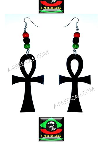BIJOUX, Boucles d'oreilles: ANKH RBG BLACKWOOD (Earrings / Brincos)