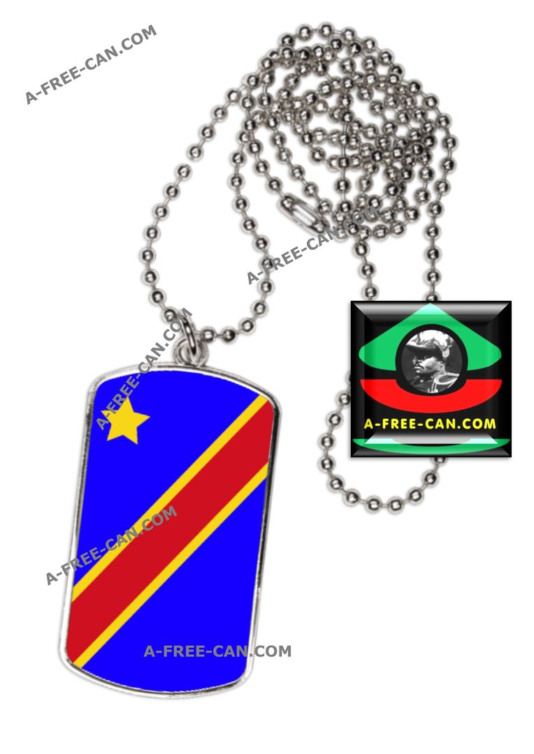 "BIJOUX, Collier avec médaillon rectangle: ""DRAPEAU CONGO KINSHASA, v1"" by A-FREE-CAN.COM"