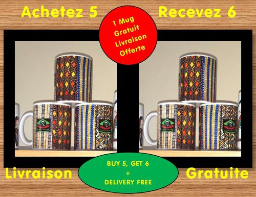 "LOT DE 6 MUGS Medium / Set of 6 MUGS Medium: ""BOGOLAN"" (by A-FREE-CAN.COM)"