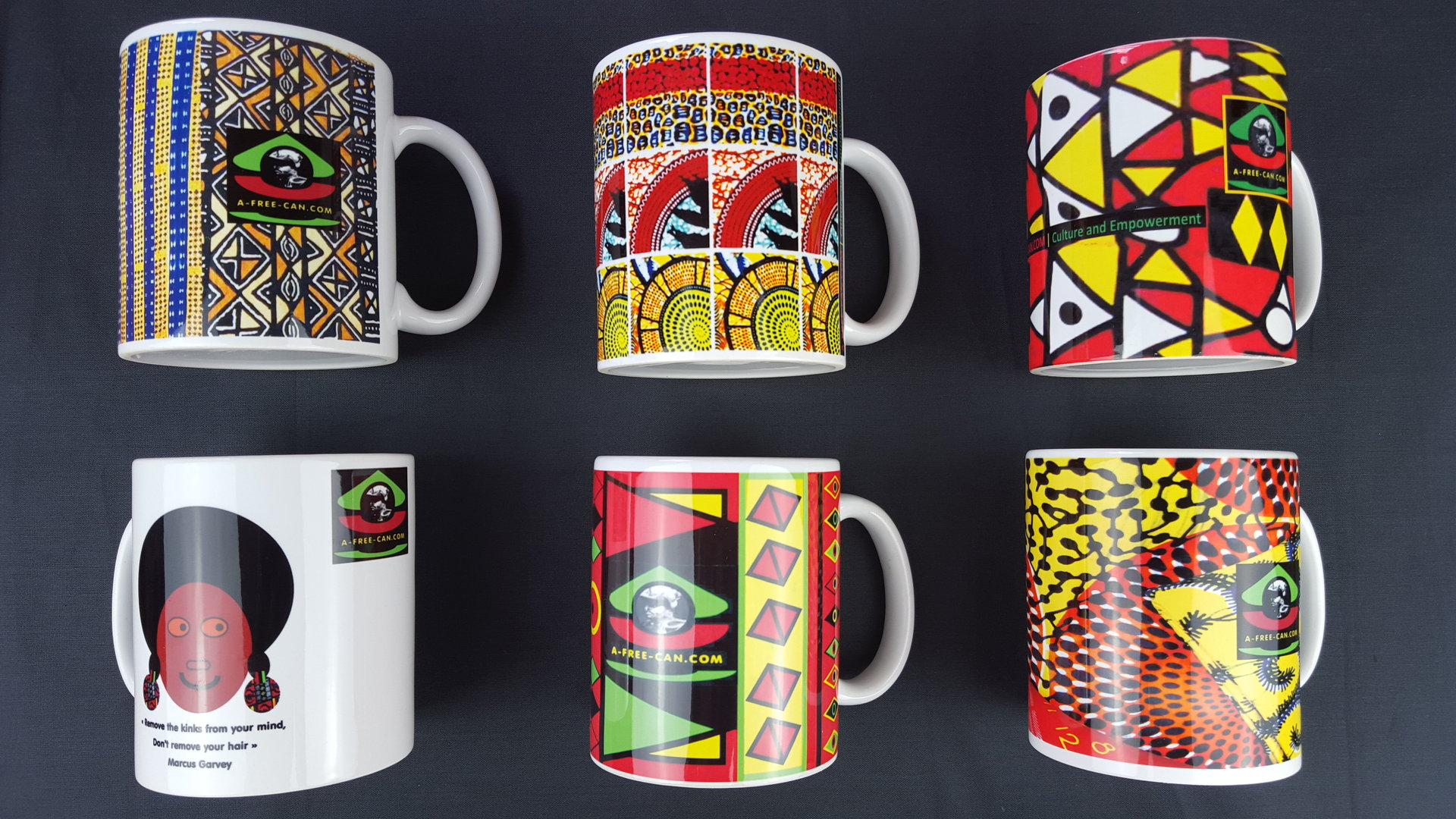 "Lot de 6 MUGS Medium / Set of 6 MUGS Medium: ""DECO MIX 1"" (by A-FREE-CAN.COM)"
