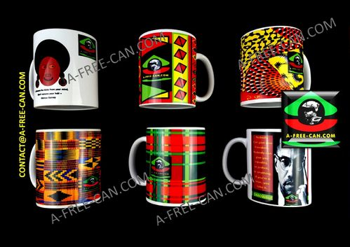 "Lot de 6 MUGS Medium / Set of 6 MUGS Medium: ""DECO MIX 2"" (by A-FREE-CAN.COM)"