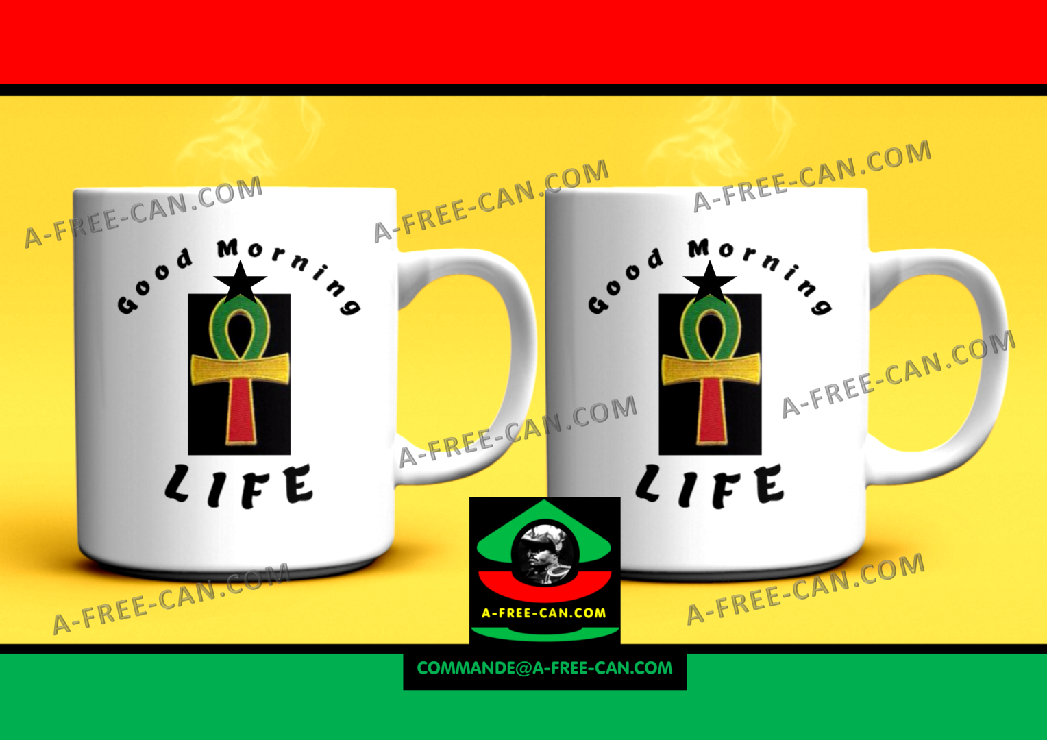 "DUO MUGS Medium: ""ANKH GOOD MORNING LIFE"" (2 Mugs par lot)"