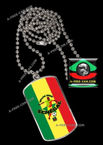 "BIJOUX, pendentif avec médaille rectangle: ""WORLD 2018 SENEGAL"" by A-FREE-CAN.COM"