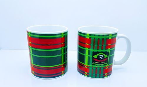 "Lot de 2 Tasses / Set of 2 Mugs: ""TCHIMBÉ RED GREEN"" by A-FREE-CAN.COM"