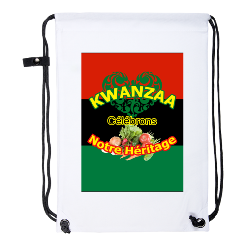 "Drawstring Backpack: ""KWANZAA CELEBRONS NOTRE HERITAGE (rbg v1)"" by A-FREE-CAN.COM"