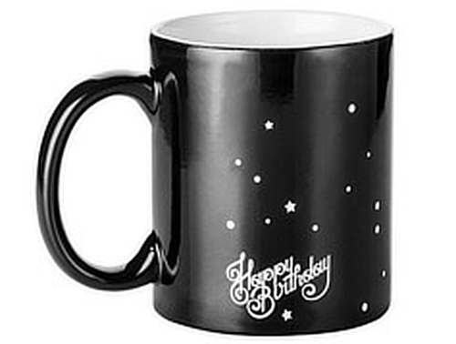 """2 MUGS MAGIQUES NOIRS HAPPY BIRTHDAY"" - (33 CL)"