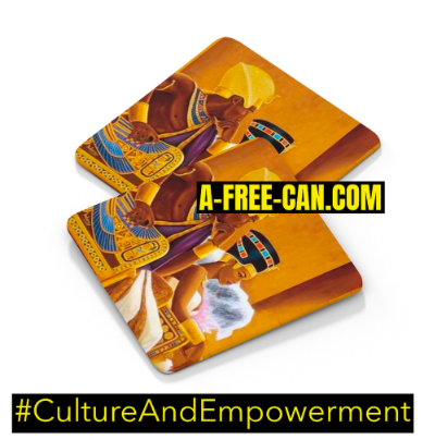 """BLACK LOVE KEMET ROYAL 1"" by A-FREE-CAN - (Sous-Verres Kamites)"