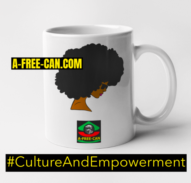 "Mug: ""AFRO NATURAL HAIR REVOLUTION"" by A-FREE-CAN.COM"
