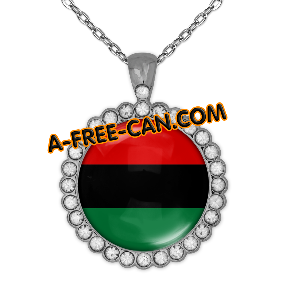 """DRAPEAU PANAFRICAIN vSLXS"" by A-FREE-CAN.COM - (BIJOUX, Collier CABOCHON Rond)"