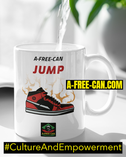 "Mug: ""A-FREE-CAN JUMP"" by A-FREE-CAN.COM"