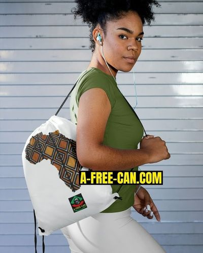 """AFRICA BOGOLAN v1"" by A-FREE-CAN.COM - (Drawstring Tote Bag)"