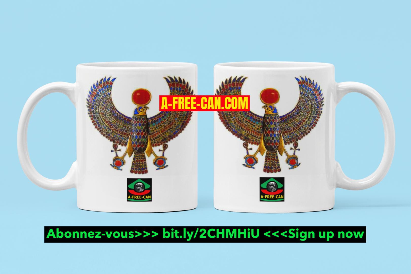 """RE-HORAKHTY, Un Trésor de Toutankhamon (V2)"" by A-FREE-CAN.COM - (Pack de 2 Mugs)"