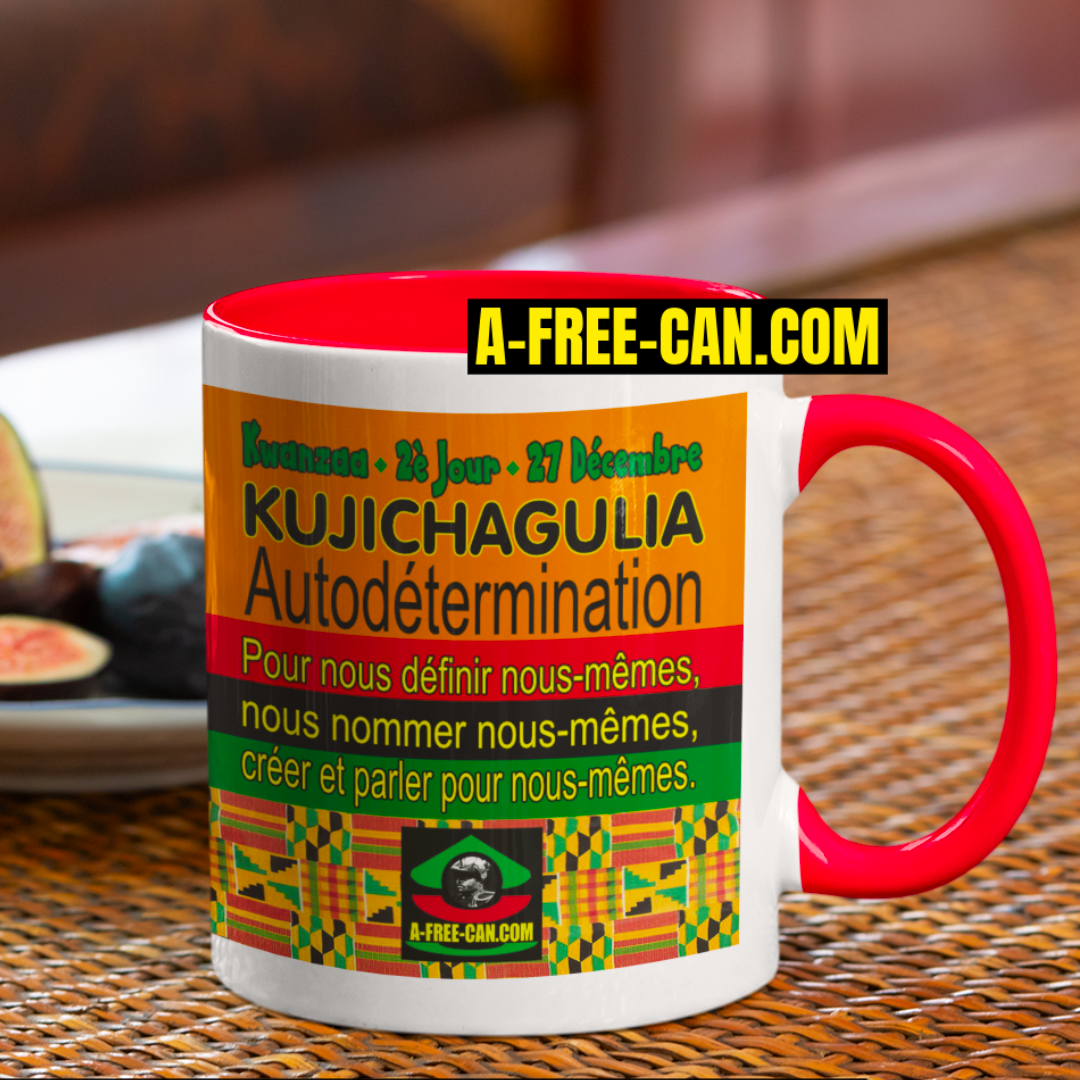 """KUJICHAGULIA (Autodétermination)"" by A-FREE-CAN - (Mug Kwanzaa M1Red)"